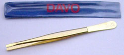 Round Tip Stamp Tongs Gold plated 4 1/2