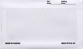 "HECO 6"" x 3 3/8"", APPROVAL CARDS WHITE 2"