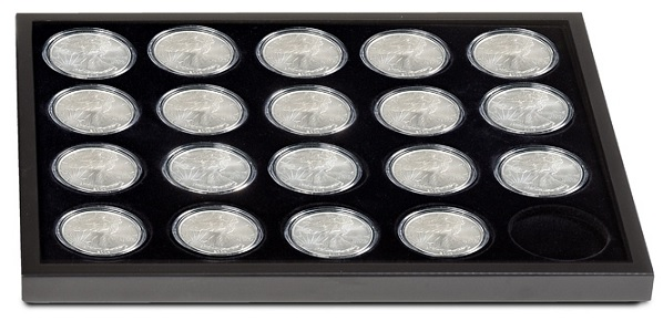 Additional tray to hold another 20 American Eagle Silver Dollars