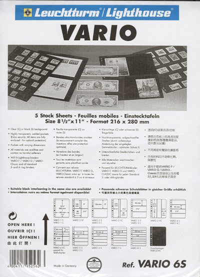 VARIO 6S STOCK SHEETS (5) - Click Image to Close