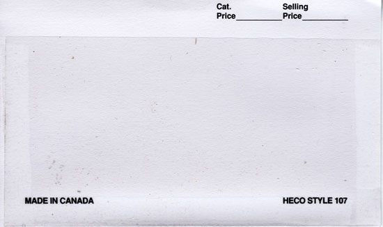 "HECO 6"" x 3 3/8"", APPROVAL CARDS WHITE 2 (Per 1000)"