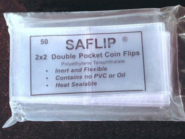 "2"" x 2"" Coin Saflip double pocket 50"